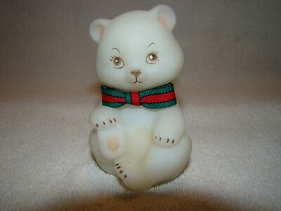 Fenton Handpainted Bear with Scarf  Very Cute