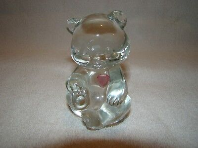 Fenton Handpainted Birthday Bear Clear Glass with Pink Heart