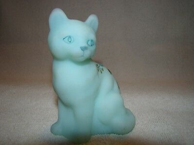 Fenton Handpainted Blue Satin Cat with Flowers