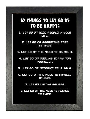 10 Things To Let Go Of Black & White Poster Motivation Be Happy Self-Improvement