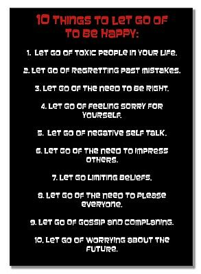 10 Things To Let Go Black & White Poster Motivation Be Happy Self-Improvement