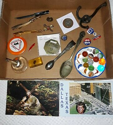 Vintage/Antique Junk Drawer Lot Political Pinback Coin Jewelry Postcards Marbles