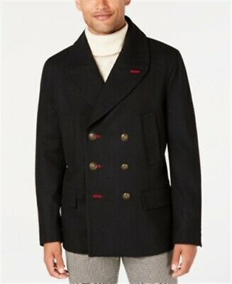 Tallia Slim-Fit Black Solid Double-Breasted Peacoat Mens 2XL New $395