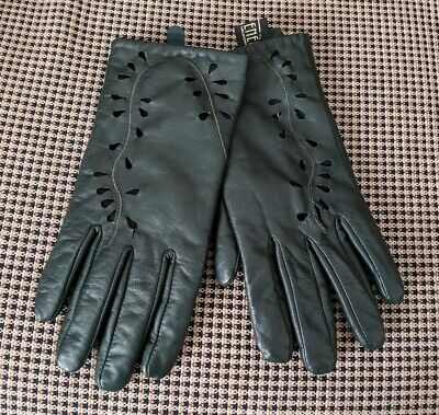 Ladies vintage Avenel of Melbourne forest green soft leather cut out gloves, EUC