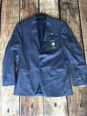 Lauren Ralph Lauren Silk/Wool Plaid Two Button Sportcoat Blazer Blue 36R New