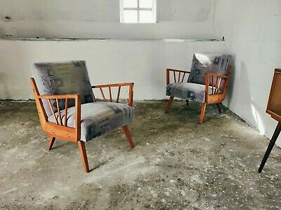 Spindle Framed Unique Pair of Mid-Century European Arm Chairs Rare Seating