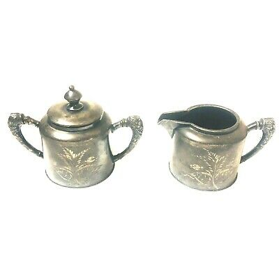 Antique Hamilton Co Cream & Sugar Set Quadruple Silver Plate Lid Flower Etched