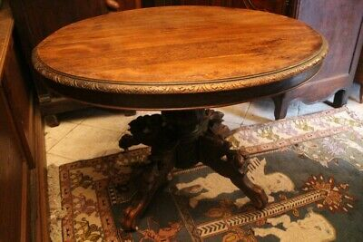 Table Middle Oval Pedestal Table 19e Solid oak Pattern Carved Style Louis 13