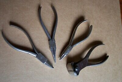4 Pairs Vintage Pliers, 3 Unbranded, 1 Harten Draht End Cut Nippers, See Pics