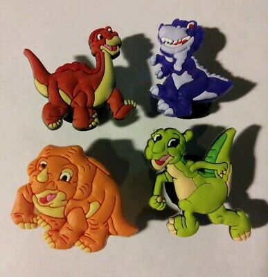 Land Before Time 4pc SHOE CHARMS LOT FOR CROC SHOES JIBBITZ BRACELETS Dinosaurs