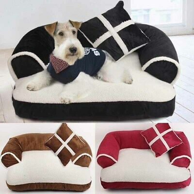 Pet Kennel Bed Cushion Sofa Dog Cat Sleeping Mat Soft Cosy Canvas Washable Warm