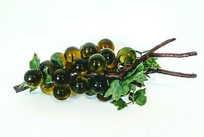 """Mid Century Glass Grape Cluster Green Lucite Wood Stem 1960s 16"""""""