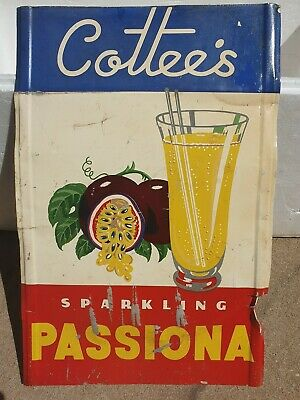 Cottees Passiona Soft Drink Tin Shop Dispay Sign