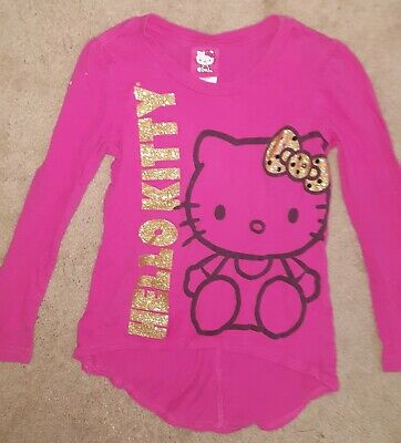Girls Sanrio Dark Pink Long Sleeve Shirt Top Gold Sparkly HELLO KITTY Bow Small