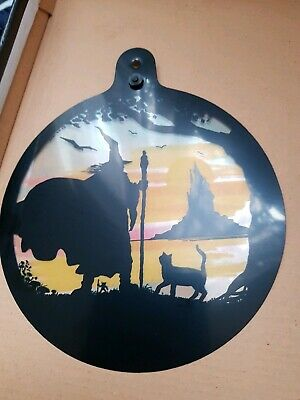 Window Suncatcher Halloween Witch & Cat Stained Glass Effect Vynal Free Postage