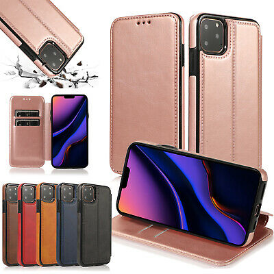 For Apple iPhone 11 Pro MAX Slim Magnet Leather Cover edges Wallet Flip Case