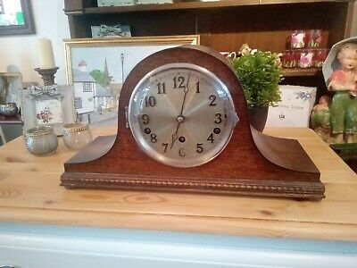 Large Chiming Mantel Clock Napoleons Hat Wooden Case 1950s chiming clock for pro