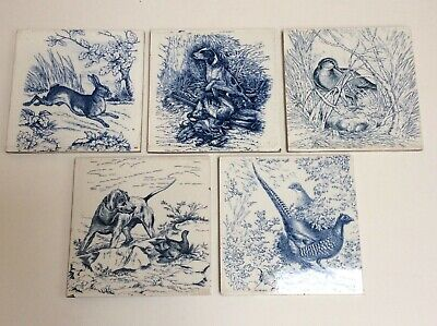 "5 VERY RARE WEDGWOOD ETRURIA 8X8 INCH BLUE ""GAME"" SERIES TILES c1870 PLUS LABEL!"
