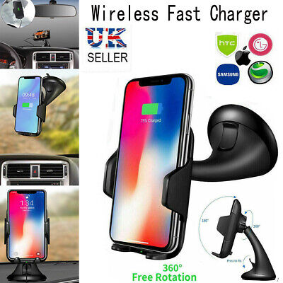 Qi Wireless Car Charger 360 Windscreen Mount Dashboard Holder Mobile Phone Stand