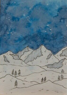 ACEO Original watercolor, night sky, stars, clouds, mountains, trees, landscape