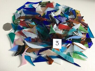 ** STAINED GLASS OFFCUTS 600g ASSORTED COLOURS MOSAIC MAKING ARTS / CRAFTS **
