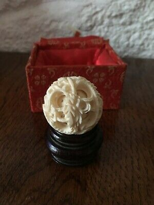 An Antique 19th Century Boxed Chinese Carved Puzzle Ball On Wooden Stand