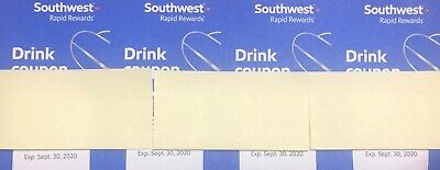 (4) Southwest Drink Coupons Vouchers Tickets - FAST/FREE  Ship -Expire 9/30/2020
