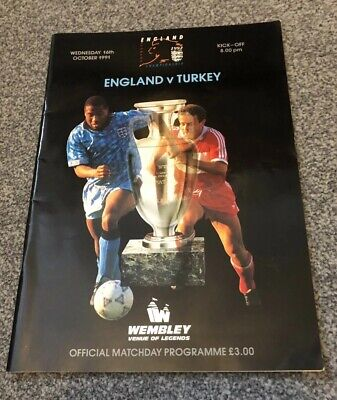 England V Turkey Programme 16Th October 1991 European Championship Qualifier