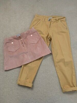 Girls Next Pink Suede Skirt And Yellow Cropped Chinos Age 11 Years