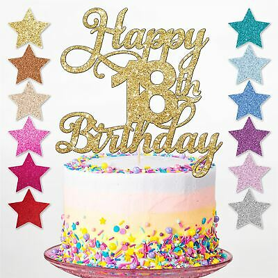 Happy 18th Glitter Birthday Party Cake Topper Eighteen Decoration Daughter Son