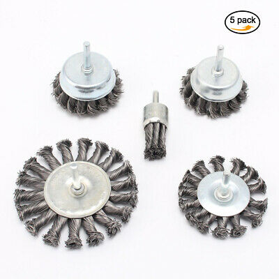 5Pcs 1''-4''Twist Knotted Crimped Steel Wire Wheel Flat Cup Brush End Brush Set