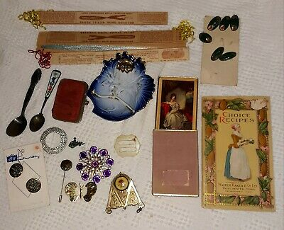 Antique Junk Drawer Lot Jewelry Victorian Cards Flow Blue Buttons Spoons etc