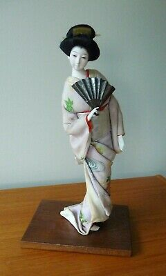 "Vintage Japanese Geisha Doll with Fan and Kimono with Obi ~ 14"" tall"