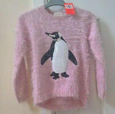 Tammy Girl by BHS Pale Pink Fluffy Jumper Sequin Penguin 10-11 years BNWT