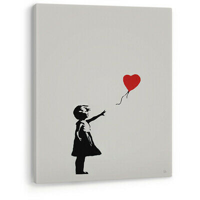 Girl with Red Love Heart Balloon Banksy Canvas Wall Art Picture Print Large