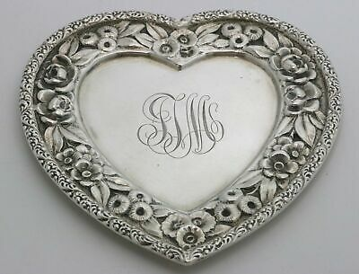 Gorham Repousse Sterling Silver Pin Tray Heart Shape