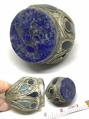 Lovely Huge Afghan Lapis Stone Ring Ethnic Trible Jewellery Antique Boho Spike