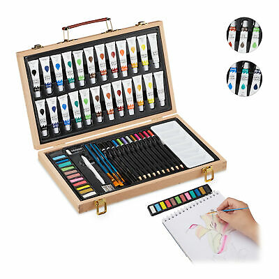 Art Set In Wooden Case Complete Paint Box Set 56-Piece Painting Set Wood