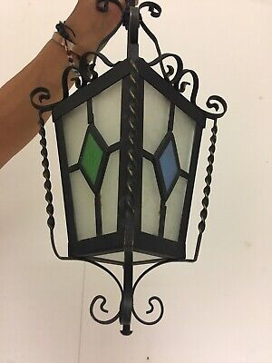 VINTAGE CAST IRON FRENCH INDOOR / OUTDOOR Porch LIGHT LANTERN GLASS Coloured