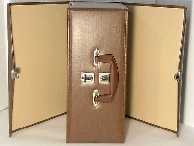 Vintage Vinyl Audio Cassette Carrying Case Brown Holds 60 Tapes No 1