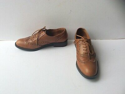 LadiesTan Brown LaceUp Brogue Work Office Casual Shoe Women UK 3 4 /& 7