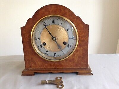 Rare Antique Art Deco Smiths Enfield 8 Day Striking Mantel Clock Collectable