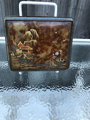 Antique Lacquered Box Painted Green Oriental Jewellery Box