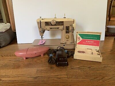 Singer Slant 401A  Sewing Machine W/Accessories Box,Manual, Cleaned~SEWS GREAT!