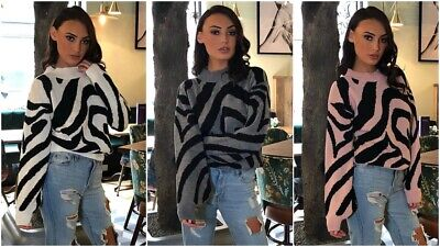 M/&C Autumn Womens V neck Oversized Baggy Jumpers Knitted Warm Chunky Sweaters HC