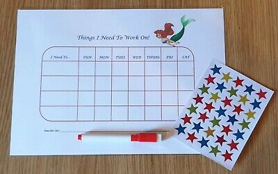 Re-usable Behaviour Reward Chart (including FREE Stickers and Pen)