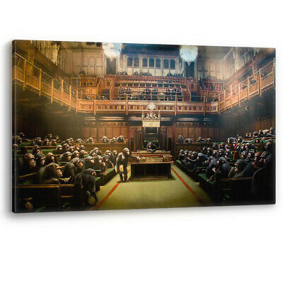 Banksy Devolved Parliament Monkey Artwork Canvas Wall Art Picture Print Large A0