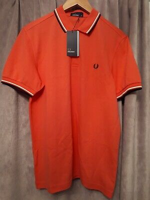 Fred Perry Mens Twin Tipped Collar Polo Shirt pink (calypso coral)