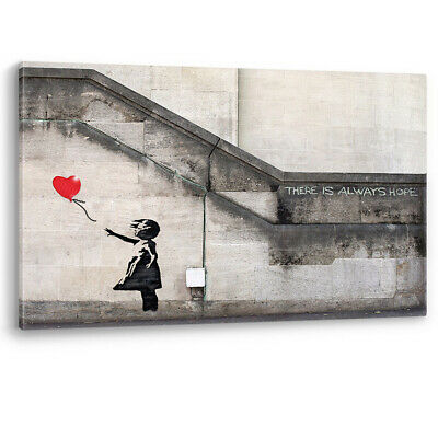 Red Heart Balloon Girl Banksy There Is Always Hope Canvas Wall Art Picture Print