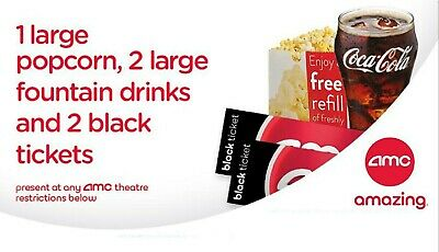 AMC Theaters 2 Tickets, 2 Large Drinks, 1 Popcorn - US Only
